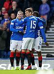 03.04.2019 Rangers v Hearts: Jon Flanagan with Ryan Kent and Jermain Defoe