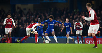 Chelsea's Willian in action <br /> <br /> Photographer Craig Mercer/CameraSport<br /> <br /> The Carabao Cup - Semi-Final 1st Leg - Chelsea v Arsenal - Wednesday 10th January 2018 - Stamford Bridge - London<br />  <br /> World Copyright &copy; 2018 CameraSport. All rights reserved. 43 Linden Ave. Countesthorpe. Leicester. England. LE8 5PG - Tel: +44 (0) 116 277 4147 - admin@camerasport.com - www.camerasport.com