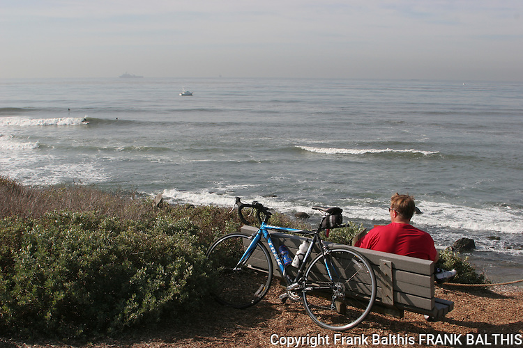 Man with bicycle at Cabrillo National Monument
