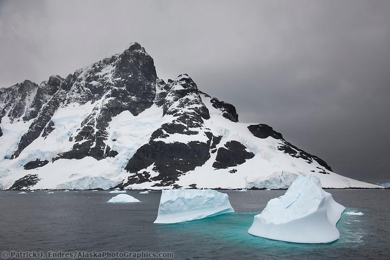 Floating icebergs near Lumiere Channel, western Antarctic Peninsula.