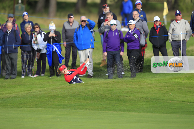 Nelly Korda of Team USA on the 7th during Day 1 Foursomes at the Solheim Cup 2019, Gleneagles Golf CLub, Auchterarder, Perthshire, Scotland. 13/09/2019.<br /> Picture Thos Caffrey / Golffile.ie<br /> <br /> All photo usage must carry mandatory copyright credit (© Golffile   Thos Caffrey)