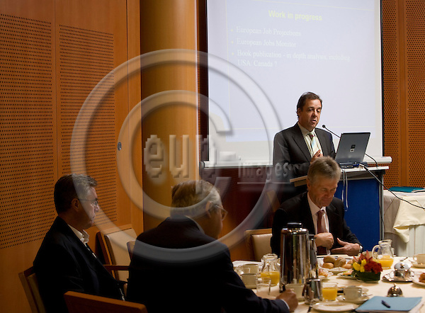 BRUSSELS - BELGIUM - 7 OCTOBER 2008 --  Xavier Prats MONNE, Director, DG Employment, Social Affairs and Equal Opportunities, European Commission , during the presentation of the new report from the Foundation, More and better jobs: patterns of employment expansion in Europe, in  in The European Parliament.  Photo: Erik LUNTANG / EUP-Images