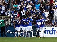 Calcio, Serie A: Genova, Stadio Luigi Ferraris, 24 settembre 2017. <br /> Sampdoria's Duvan Zapata celebrates after scoring with his teammates during the Italian Serie A football match between Sampdoria and Milan at Genova's Luigi Ferraris stadium. September 24, 2017.<br /> UPDATE IMAGES PRESS/Isabella Bonotto