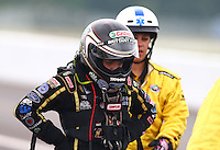 Sept. 2, 2013; Clermont, IN, USA: NHRA top fuel dragster driver Brittany Force during the US Nationals at Lucas Oil Raceway. Mandatory Credit: Mark J. Rebilas-