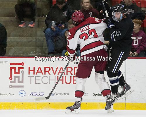 David Valek (Harvard - 23), Alex Grieve (Bentley - 23) - The Harvard University Crimson defeated the visiting Bentley University Falcons 3-0 on Saturday, October 26, 2013, in Harvard's season opener at Bright-Landry Hockey Center in Cambridge, Massachusetts.