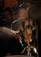 Nascar Nextel Cup driver Kurt Busch celebrates after winning the 2004 championship in Miami. Mandatory Credit: Mark J. Rebilas