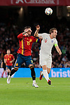 Spain's Sergio Ramos and England's Harry Kane during UEFA Nations League 2019 match between Spain and England at Benito Villamarin stadium in Sevilla, Spain. October 15, 2018. (ALTERPHOTOS/A. Perez Meca)