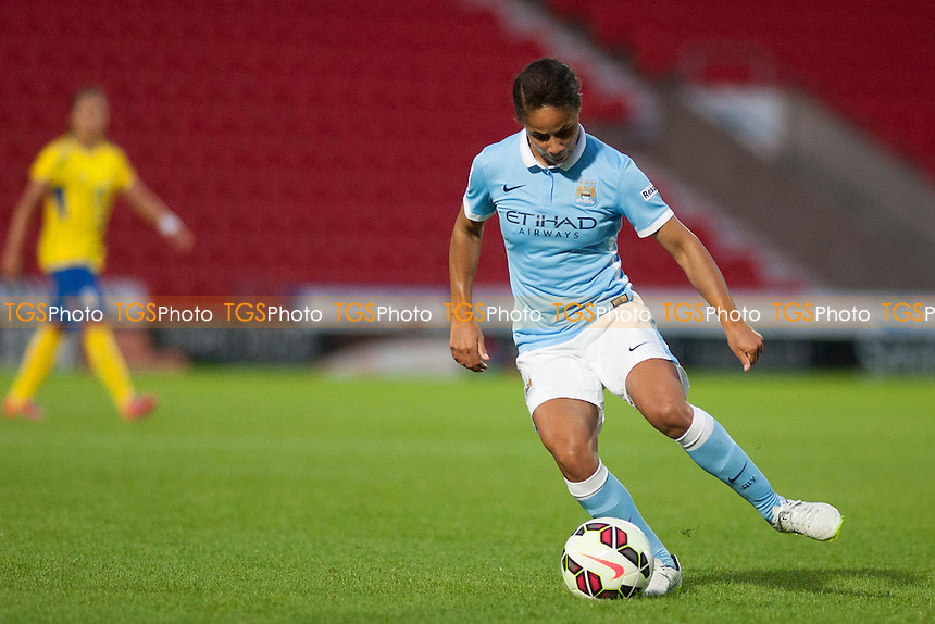Demi Stokes (Man City Women)<br /> Doncaster Rovers Belles vs Manchester City Women, FA Womens Super League Continental Tyres Cup Football at the Keepmoat Stadium, Stadium Way, Doncaster, West Riding of Yorkshire on 23/07/2015 - MANDATORY CREDIT: Mark Hodsman/TGSPHOTO