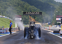 Jun 21, 2015; Bristol, TN, USA; NHRA top fuel driver Richie Crampton against the Thunder Valley Nationals at Bristol Dragway. Mandatory Credit: Mark J. Rebilas-USA TODAY Sports