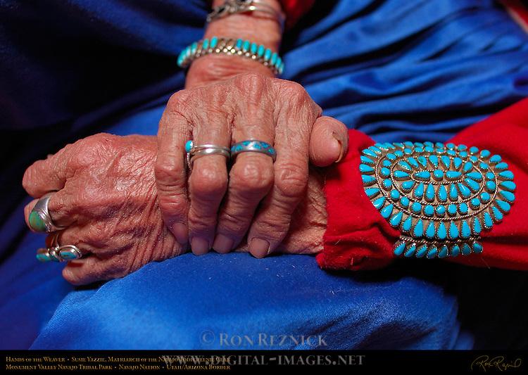 Hands of the Weaver, Susie Yazzie, Matriarch of the Navajo Todicheenie Clan, Monument Valley Navajo Tribal Park, Navajo Nation Reservation, Utah/Arizona Border