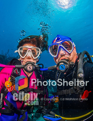 "27 January 2016:  SCUBA Divers Sally Herschorn and Ed Wolfstein take an underwater ""selphie"" self-portrait on the reef at Captain Don's Habitat in Bonaire. Bonaire is known for its pioneering role in the preservation of the marine environment. A part of the Netherland Caribbean Islands, Bonaire is located off the coast of Venezuela and offers excellent scuba diving, snorkeling and windsurfing.  Mandatory Credit: Ed Wolfstein Photo *** RAW (NEF) Image File Available ***"