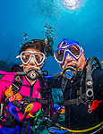 """27 January 2016:  SCUBA Divers Sally Herschorn and Ed Wolfstein take an underwater """"selphie"""" self-portrait on the reef at Captain Don's Habitat in Bonaire. Bonaire is known for its pioneering role in the preservation of the marine environment. A part of the Netherland Caribbean Islands, Bonaire is located off the coast of Venezuela and offers excellent scuba diving, snorkeling and windsurfing.  Mandatory Credit: Ed Wolfstein Photo *** RAW (NEF) Image File Available ***"""