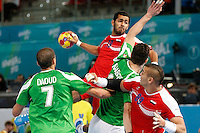 15.01.2013 World Championshio Handball. Match between Algeria vs Egypt (24-24) at the stadium La Caja Magica. The picture show Mohamed Hesham Ahmed Elbasyouni (Centre back of Egypt)