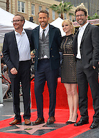 Actor Ryan Reynolds &amp; actress Anna Faris with &quot;Deadpool&quot; writers Rhett Reese &amp; Paul Wernick (left) at the Hollywood Walk of Fame Star Ceremony honoring actor Ryan Reynolds.<br /> Los Angeles, CA. <br /> December 15, 2016<br /> Picture: Paul Smith/Featureflash/SilverHub 0208 004 5359/ 07711 972644 Editors@silverhubmedia.com