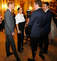 07 February 2019 - Prince Harry Duke of Sussex and Meghan Markle Duchess of Sussex meet guests during the annual Endeavour Fund Awards at Draper's Hall in London. The Royal Foundation's Endeavour Fund Awards celebrate the achievements of wounded, injured and sick servicemen and women who have taken part in sporting and adventure challenges over the last year. Photo Credit: ALPR/AdMedia