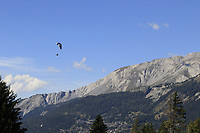 Airborne during Sunday's Final Round 4 of the 2018 Omega European Masters, held at the Golf Club Crans-Sur-Sierre, Crans Montana, Switzerland. 9th September 2018.<br /> Picture: Eoin Clarke | Golffile<br /> <br /> <br /> All photos usage must carry mandatory copyright credit (&copy; Golffile | Eoin Clarke)
