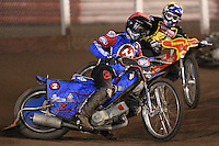 Heat 8: Leigh Lanham (red) and Ben Barker(yellow) - Lakeside Hammers vs Coventry Bees - Craven Shield Final 1st Leg at The Arena Essex Raceway, Lakeside - 16/10/08 - MANDATORY CREDIT: Rob Newell/TGSPHOTO