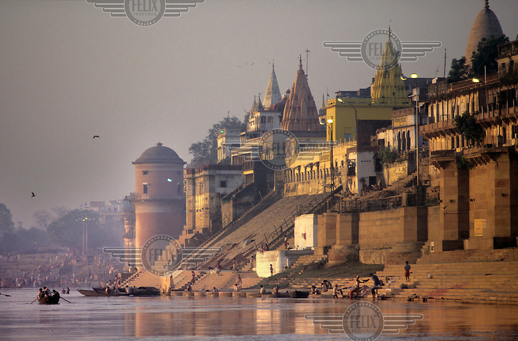 Ghats on the River Ganges (Ganga) at dawn.