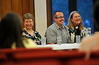 NWA Democrat-Gazette/MICHAEL WOODS --05/16/2015--w@NWAMICHAELW...  Members of the LGBT community (left to right) Cathy Campbell, President of NWA PFLAG, Raymond M. Sweet and Rev. Gwen Fry, Episcopal priest, answer questions during a discussion panel Saturday evening hosted by the Unitarian-Universalists in Fayetteville as they share their faith stories with the public.
