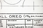 August 11, 2011. Durham, NC..A copy of the original drawing for the 1952 version of the Oreo, designed by William Turnier for Nabisco. Turnier also designed the Nutter Butter and the Milk Bone Dog Biscuit.