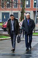 Pictured: Wai Chim (left) and His father Mr Chim (right )outside Cardiff magistrates court in Cardiff, Wales, UK. Thursday 13 February 2020<br /> Re: A Chinese restaurant is facing possible closure after complaints about the smells coming from the kitchen by a judge who lives nearby. Lord Justice Sir Gary Hickingbottom, 64, said the aromas from The Summer Palace were wafting into their £525,000 home near Llanfaff Cathedral, Cardiff. The local council has upheld the complaint meaning the restaurant, which has been there for 30 years, is facing court action.