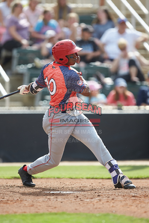 Armond Upshaw (10) of the Hagerstown Suns follows through on his swing against the Kannapolis Intimidators at Kannapolis Intimidators Stadium on May 6, 2018 in Kannapolis, North Carolina. The Intimidators defeated the Suns 4-3. (Brian Westerholt/Four Seam Images)