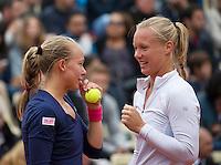 Paris, France, 01 June, 2016, Tennis, Roland Garros, Womans Doubles: Kiki Bertens (NED) with her partner Johanna Larsson (SWE) (L)<br /> Photo: Henk Koster/tennisimages.com