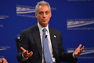 January 14, 2013  (Washington, DC)  Chicago Mayor Rahm Emanuel speaks at a gun violence forum sponsored by the Center for American Progress in Washington. (Photo by Don Baxter/Media Images International)