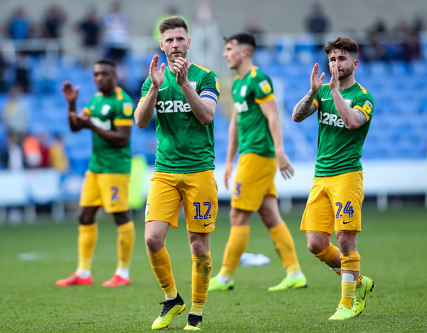 Preston North End's Paul Gallagher and Sean Maguire  applaud their side's travelling supporters at the end of the match <br /> <br /> Photographer Andrew Kearns/CameraSport<br /> <br /> The EFL Sky Bet Championship - Reading v Preston North End - Saturday 30th March 2019 - Madejski Stadium - Reading<br /> <br /> World Copyright © 2019 CameraSport. All rights reserved. 43 Linden Ave. Countesthorpe. Leicester. England. LE8 5PG - Tel: +44 (0) 116 277 4147 - admin@camerasport.com - www.camerasport.com