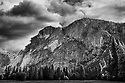 September 2014 / Black and White / Yosemite National Park landscapes / Cliffs of Glacier Point from Lower Pines / Photo by Bob Laramie