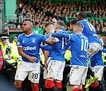 29.12.2019 Celtic v Rangers: Rangers players celebrate Nikola Katic's goal