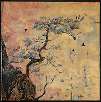 Bonsai zen tree encaustic painting/photo transfer by Jeff League.