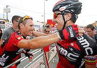 Philippe Gilbert (l) and Alessandro Ballan celebrate the victory of Gilbert after the stage of La Vuelta 2012 beetwen Penafiel-La Lastrilla.September 7,2012. (ALTERPHOTOS/Paola Otero) /NortePhoto.com<br /> <br /> **CREDITO*OBLIGATORIO** *No*Venta*A*Terceros*<br /> *No*Sale*So*third* ***No*Se*Permite*Hacer Archivo***No*Sale*So*third