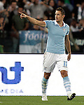 Calcio, Serie A: Lazio vs Milan Roma, stadio Olimpico, 20 ottobre 2012..Lazio forward Miroslav Klose, of Germany, celebrates after scoring during the Italian Serie A football match between Lazio and AC Milan, at Rome's Olympic stadium, 20 October 2012..UPDATE IMAGES PRESS/Riccardo De Luca