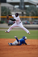 Detroit Tigers Hector Martinez (70) jumps over a sliding base runner during a Minor League Extended Spring Training game against the Toronto Blue Jays on May 23, 2019 at Tigertown in Lakeland, Florida.  (Mike Janes/Four Seam Images)