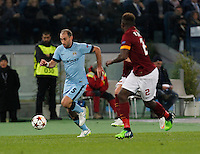 Manchester City's Pablo Zabaleta  during the Champions League Group E soccer match between As Roma and Manchester City  at the Olympic Stadium in Rome December 10 , 2014.