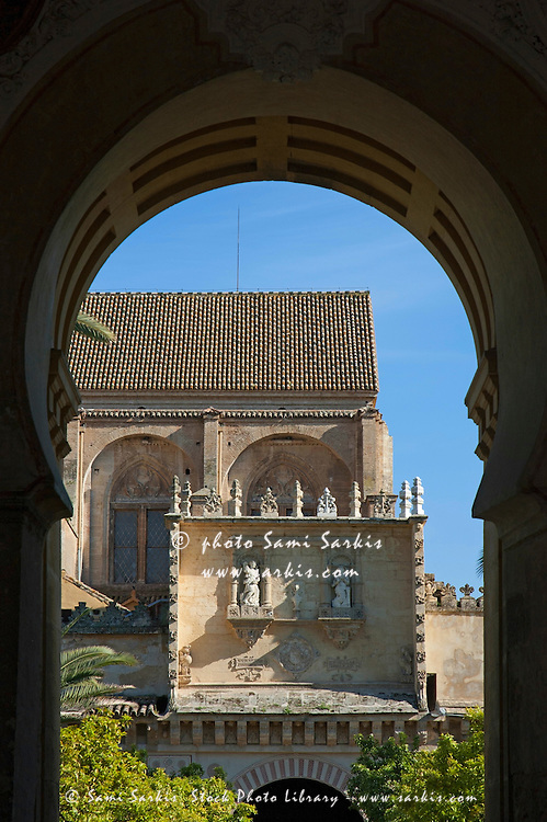 Entrance to the Patio de los Naranjos and the Cathedral of Cordoba, Cordoba, Andalusia, Spain.