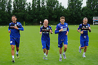 Luke Young, Andy Johnson, Jamie Mackie and Shaun Derry of QPR in training