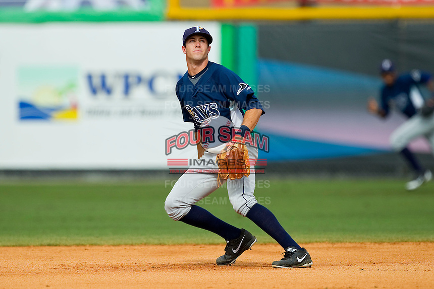 Princeton Rays second baseman Coty Blanchard (6) on defense against the Burlington Royals at Burlington Athletic Park on July 5, 2013 in Burlington, North Carolina.  The Royals defeated the Rays 5-1 in game one of a doubleheader.  (Brian Westerholt/Four Seam Images)