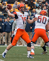 Syracuse quarterback Zack Mahoney. The Pitt Panthers defeated the Syracuse Orange 76-61 at Heinz Field in Pittsburgh, Pennsylvania on November 26, 2016.
