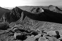 Cir Mhor, A Chir and Beinn Tarsuinn from the summit of Caisteal Abhail on the Isle of Arran, Ayrshire