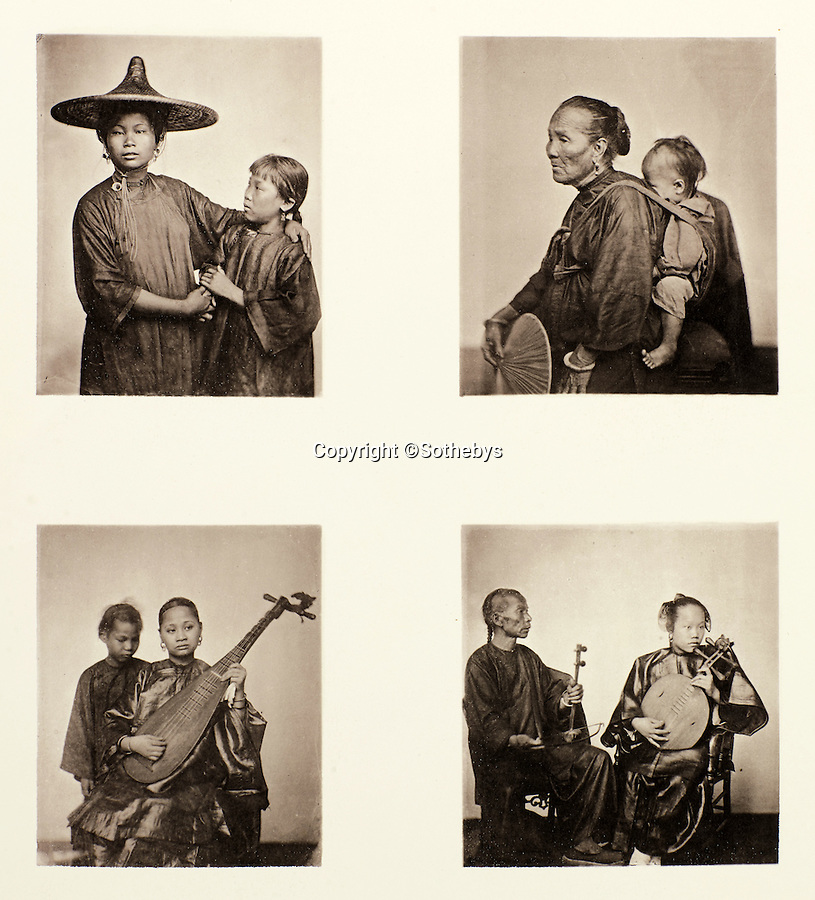 BNPS.co.uk (01202 558833)<br /> Pic: Sothebys/BNPS<br /> <br /> Top row: Canton boat girls, and below Chinese musicians.<br /> <br /> Rare early photographs revealing what life in China looked like for the first time to the 19th century public have emerged 140 years after they were taken. <br /> <br /> The stunning collection - comprising 200 black and white photographs of Far East landscapes and wide-ranging personal portraits of everybody from rural peasants to senior government officials - was the first volume of photos from the region to ever be included in a travel book. <br /> <br /> Produced at a time when camera technology was still in its infancy, they were taken by celebrated Scottish photographer John Thomson between 1873 and 1874 during a 4,000-mile expedition across the country. <br /> <br /> And now one of the last remaining copies of the album still known to exist is set to go under the hammer at Sotheby's in London on November 7 with an estimate of £35,000.