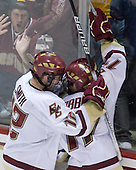 Ben Smith (BC - 12), Brian Gibbons (BC - 17) - The Boston College Eagles defeated the Northeastern University Huskies 5-1 on Saturday, November 7, 2009, at Conte Forum in Chestnut Hill, Massachusetts.