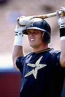 Craig Biggio of the Houston Astros during a game at Dodger Stadium in Los Angeles, California during the 1997 season.(Larry Goren/Four Seam Images)