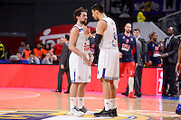 Real Madrid's Sergio Llull and Gustavo Ayon during Turkish Airlines Euroleague match between Real Madrid and CSKA Moscow at Wizink Center in Madrid, Spain. January 06, 2017. (ALTERPHOTOS/BorjaB.Hojas)