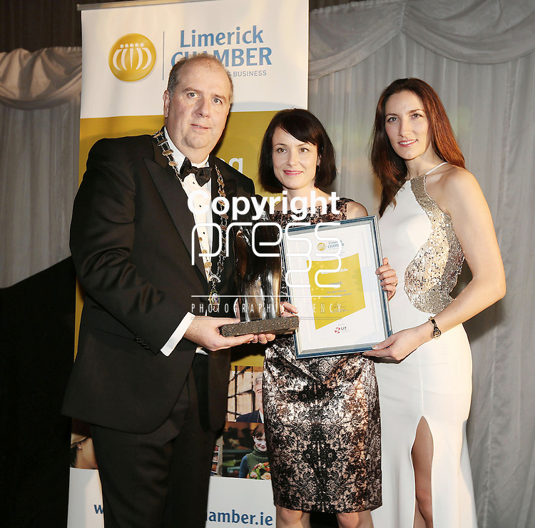21/11/2014  WITH COMPLIMENTS.   Attending the Chamber Presidents Dinner and the Limerick Chamber Regional Business Awards 2014 in the Strand Hotel were Cathal Treacy, Limerick Chamber President and Gillian Barry, Enterprise Development and Business Liaison Manager, LIT ( right) Main Award Sponsor present  Martina Skelly, Yellow Schedule the winner of the Limerick Chamber 2014 Best Start-up/Emerging Business Award.   Picture Liam Burke/Press 22