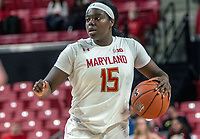 COLLEGE PARK, MD - FEBRUARY 13: Ashley Owusu #15 of Maryland on the attack during a game between Iowa and Maryland at Xfinity Center on February 13, 2020 in College Park, Maryland.