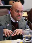 Nevada Assemblyman Ira Hansen, R-Sparks, listens to testimony on a sex trafficking bill at the Legislative Building, in Carson City, Nev. on Wednesday, Feb. 20, 2013. .Photo by Cathleen Allison