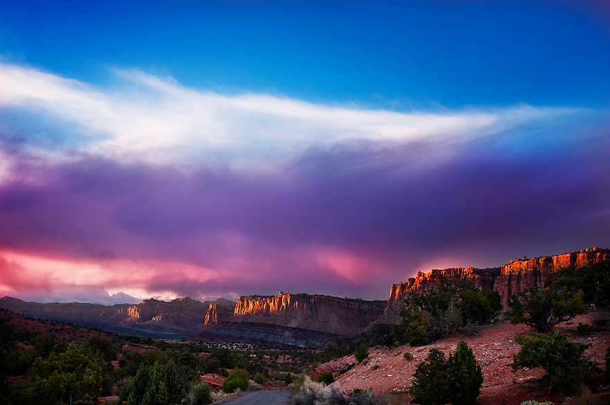 The sun sets over Capital Reef National Park in southern Utah.