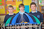 Pupils at O'Brennan school in Kielduff showcasing their year's science work at  a special science exhibition in the school last week. .Pictured fifth and sixth class students  showcasing their science project on bridges. .Pictured L -R Jamie Leen, Fionn Van Der Noll and Jason O'Meara with a special bridge constructed by Oisin McKeowan